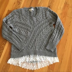 Monteau Gray Cable Knit Sweater Size Medium